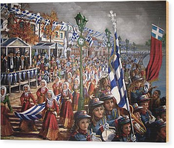 Oxi Day Parade Wood Print by Yvonne Ayoub