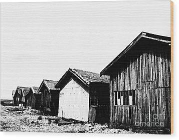 Oyster Breeding Sheds At Laramos Port On Bassin D'arcachon Wood Print by Sami Sarkis