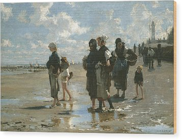 Oyster Gatherers At Cancale Wood Print by John Singer sargent