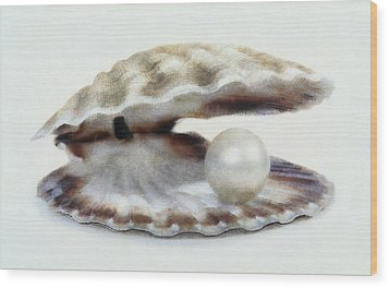 Oyster With Pearl Wood Print