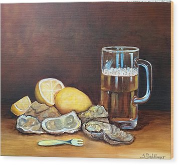 Oysters And Beer Wood Print by Susan Dehlinger