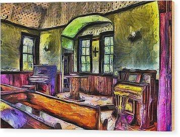 Oysterville Church Interior Wood Print