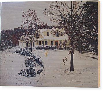 Ozark House Christmas Snow Wood Print by Sharon  De Vore