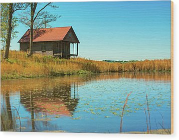 Wood Print featuring the photograph Ozark Mountain House Reflections - Arkansas by Gregory Ballos