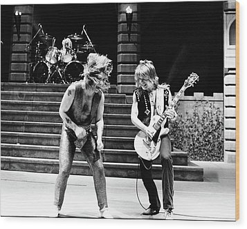Ozzy Osbourne And Randy Rhoads 1981 Wood Print by Chris Walter