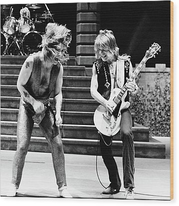 Wood Print featuring the photograph Ozzy Osbourne And Randy Rhoads 1981 - Square by Chris Walter