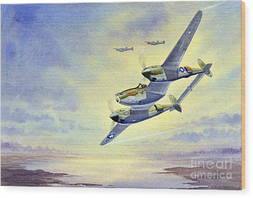 Wood Print featuring the painting P-38 Lightning Aircraft by Bill Holkham