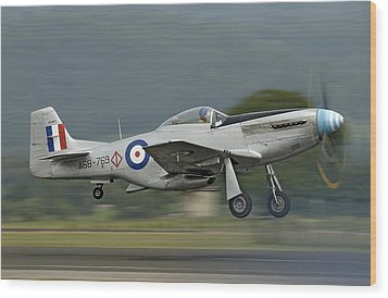 P-51 Mustang Wood Print by Barry Culling