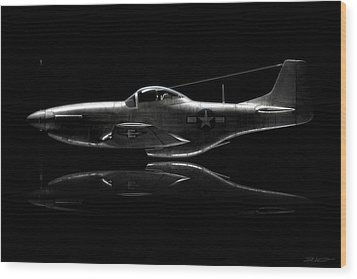 P-51 Mustang Profile Wood Print by David Collins