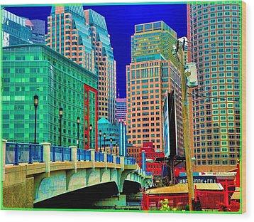 p1070571b  Boston  Bridge Wood Print by Ed Immar