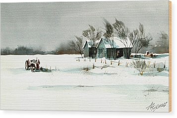 Winter's Farm Chill Wood Print by Art Scholz