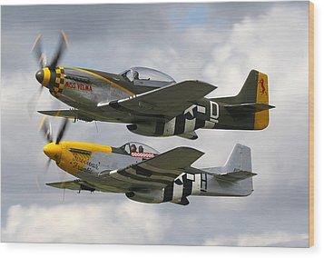 P51 Mustangs Wood Print by Ken Brannen