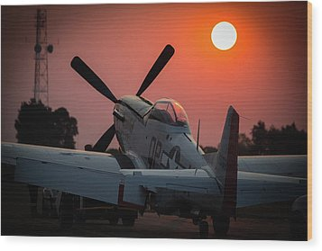 Wood Print featuring the photograph P51 Sunset by Paul Job