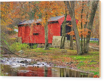 Pa Country Roads- Bartrams / Goshen Covered Bridge Over Crum Creek No.11 Chester / Delaware Counties Wood Print by Michael Mazaika