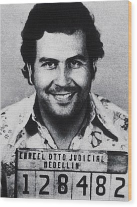 Pablo Escobar Mug Shot 1991 Vertical Wood Print