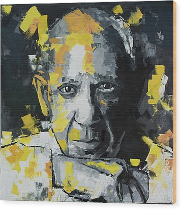 Wood Print featuring the painting Pablo Picasso Portrait by Richard Day