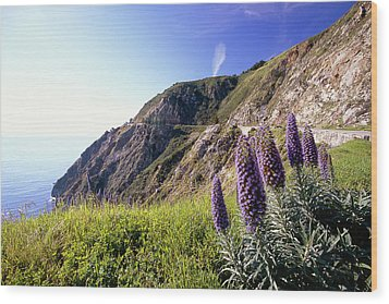 Pacific Coast View With Blue Wildflowers Wood Print by George Oze