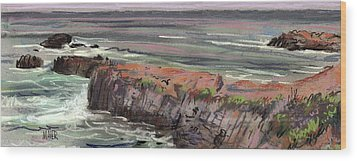 Pacific Coastal Panorama Wood Print by Donald Maier