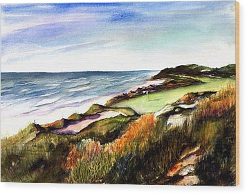 Wood Print featuring the painting Pacific Dunes Golf Course by Marti Green