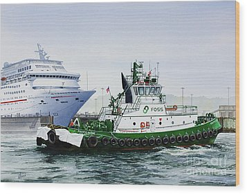 Wood Print featuring the painting Pacific Escort Cruise Ship Assist by James Williamson