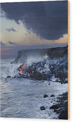 Pacific Lava Flow Wood Print by Dave Fleetham - Printscapes