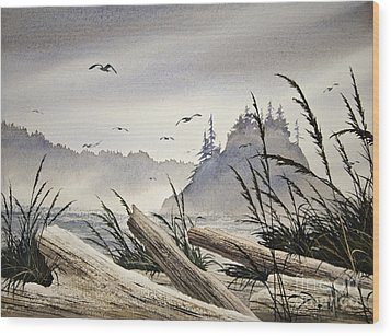 Pacific Northwest Driftwood Shore Wood Print by James Williamson