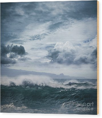 Wood Print featuring the photograph He Inoa Wehi No Hookipa  Pacific Ocean Stormy Sea by Sharon Mau