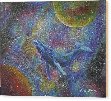 Pacific Whale In Space Wood Print