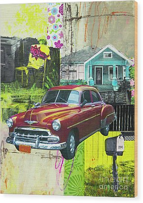 Wood Print featuring the mixed media Packard by Elena Nosyreva