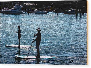 Paddle Boarding In The Marina Wood Print by Susan Vineyard