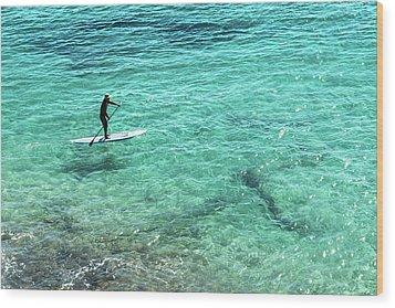 Paddle The Aqua Sea Wood Print