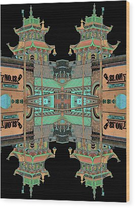 Pagoda Tower Becomes Chinese Lantern 1 Chinatown Chicago Wood Print by Marianne Dow