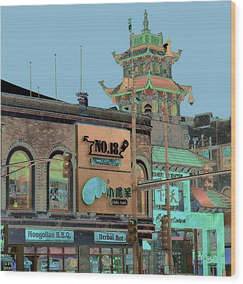 Wood Print featuring the photograph Pagoda Tower Chinatown Chicago by Marianne Dow