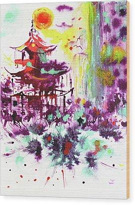Wood Print featuring the painting Pagoda by Zaira Dzhaubaeva