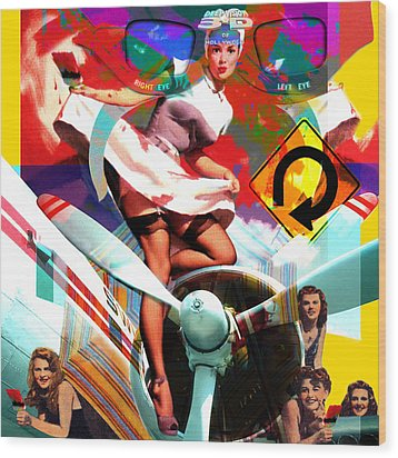 Paint Brush Girls Wood Print by Robert Anderson