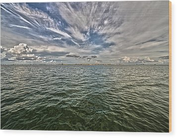 Paint Brush Sky - Ft Myers Beach Wood Print by Christopher L Thomley