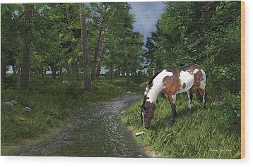 Paint Horse By The Forest Stream Wood Print by Jayne Wilson