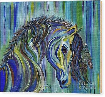 Paint Native American Horse Wood Print