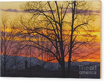 Paint Night Sunset Wood Print by Alice Mainville