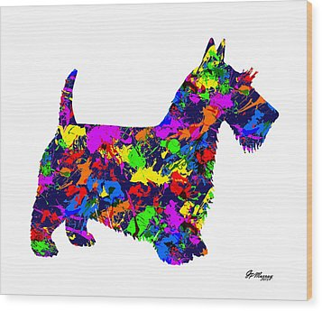 Paint Splatter Scottish Terrier Wood Print