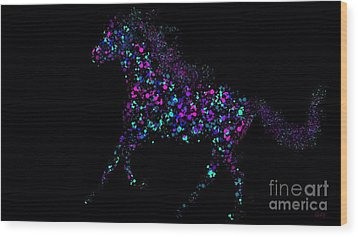 Wood Print featuring the painting Paint Splattered Pony by Nick Gustafson