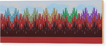 Paint The Town Wood Print by Digital Art Cafe