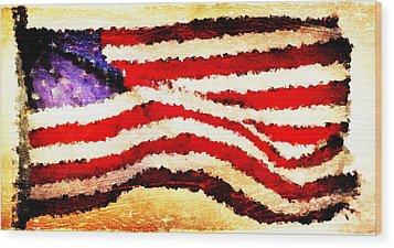 Painted American Flag Wood Print by Andrea Barbieri