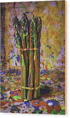 Painted Asparagus Wood Print by Garry Gay