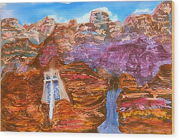 Painted Canyon Church Wood Print by Margaret G Calenda