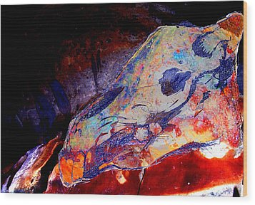 Painted Cave Skull Wood Print
