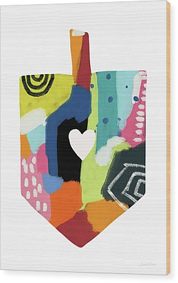 Wood Print featuring the mixed media Painted Dreidel With Heart- Art By Linda Woods by Linda Woods