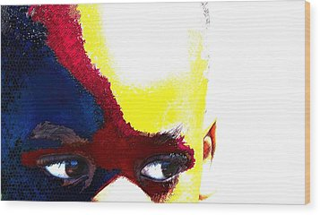Painted Face 1 Wood Print by LeeAnn Alexander
