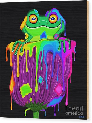 Wood Print featuring the digital art Painted Flower Frog  by Nick Gustafson