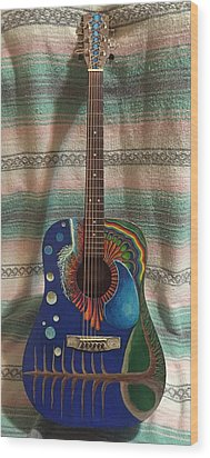 Painted Guitar Wood Print